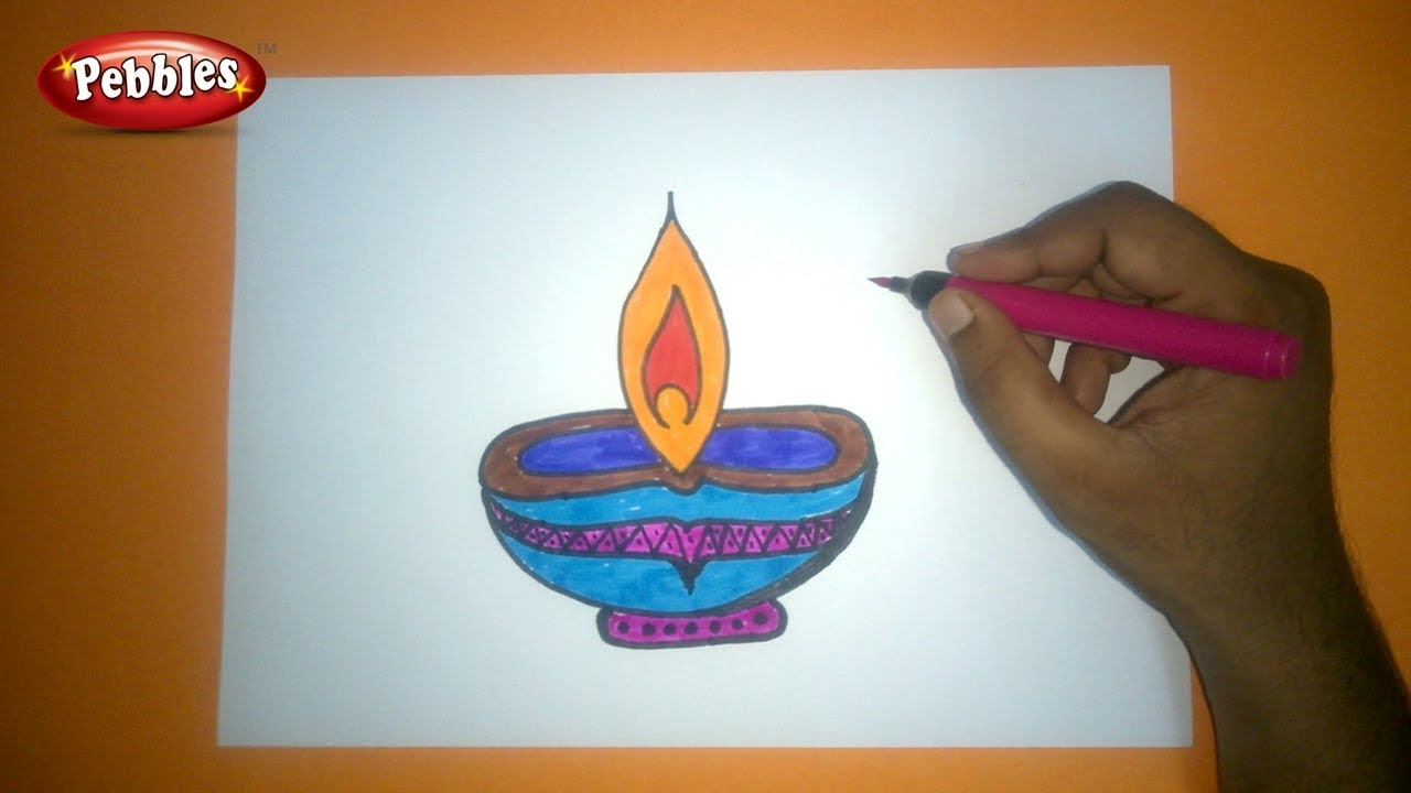 Easy and colourful diwali diya drawing for kids how to draw diwali greeting drawing