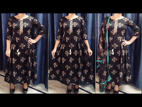 Designer long kurti with designer neck cutting and stitching in hindi by easy stitching