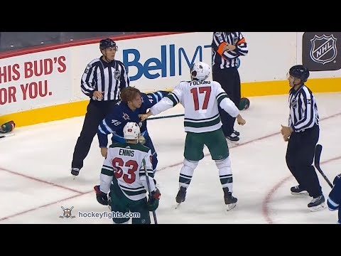 Marcus Foligno vs Brendan Lemieux Sep 18, 2017