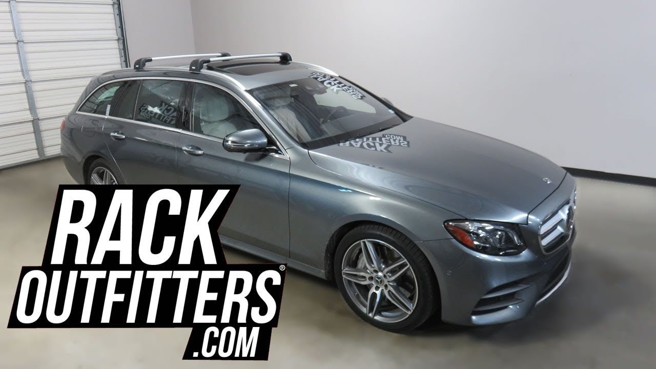 mercedes benz e class wagon with thule aeroblade edge roof rack crossbars