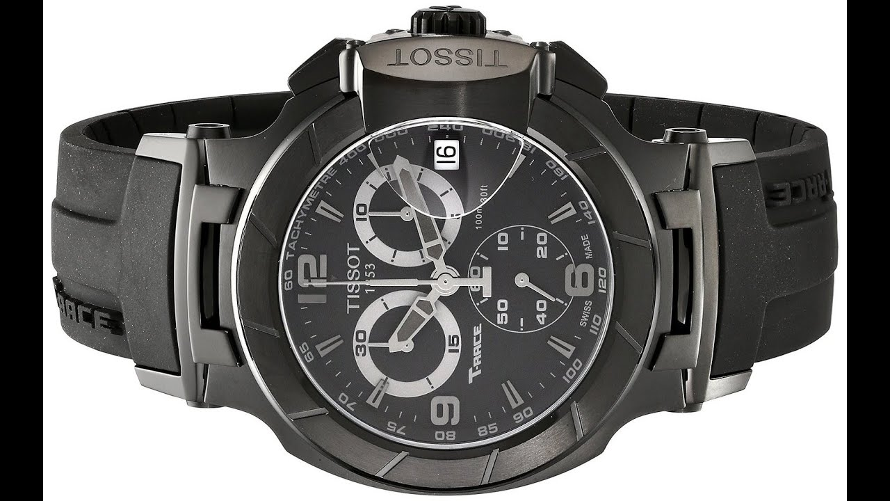 d5d795460e1 Tissot Men's T0484173705700 T-Race Stainless Steel Black Watch with Rubber  Strap