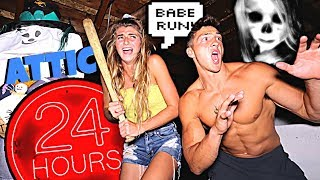 24 Hour OVERNIGHT Challenge In Haunted Attic *SCARY*