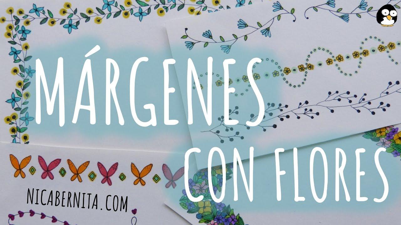 MRGENES PARA CUADERNOS Y BORDES PARA CARTAS con dibujos de flores