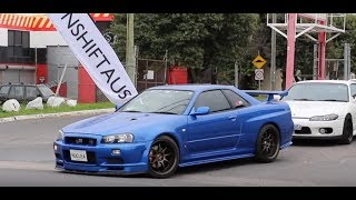 JDM Cars Leaving Meet, Skids and Anti Lag Pops. RAW SOUND.