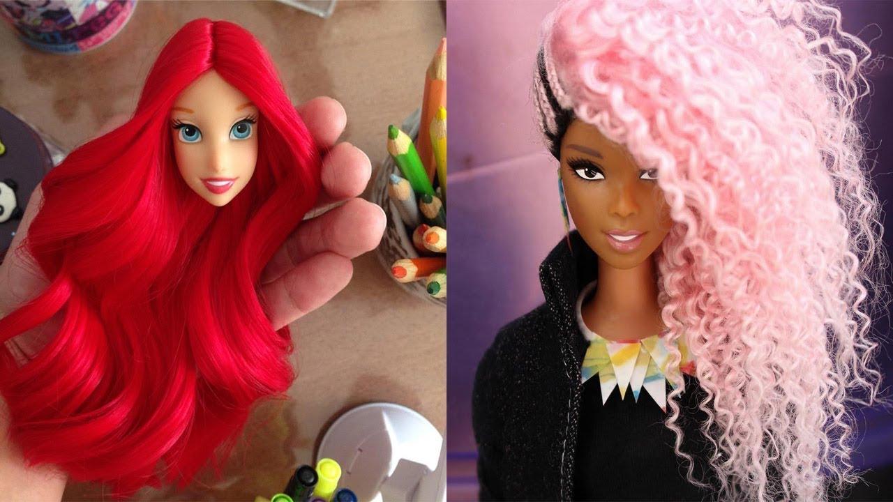 barbie hairstyle tutorial 💓 barbie hair transformation 💓barbie baby dolls hairstyles