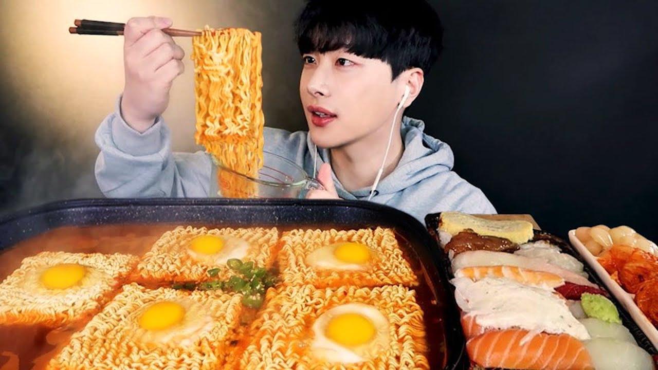 SUB)꼬들꼬들한 열라면 먹방 ? (ft. 김장김치, 초밥?) Spicy Ramyeon Instant Noodles Mukbang