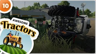 Unloading tractors from trailer - fail accident (tractor animation for kids)