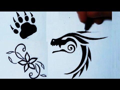 Drawing 3 Simple Tattoos Flower Bear Paw Dragon YouTube