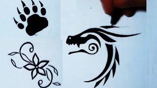 Drawing 3 Simple Tattoos: Flower, Bear Paw, Dragon