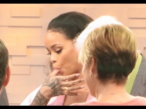 Rihanna beauty tip on how to maintaining Healthy Lips: lick finger on Good Morning America