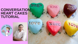 Conversation Heart Mini Cakes