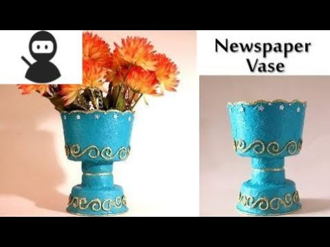 DIY Vase with Newspaper & Disposable Food Container | Best out of Waste | Little Crafties New 2018