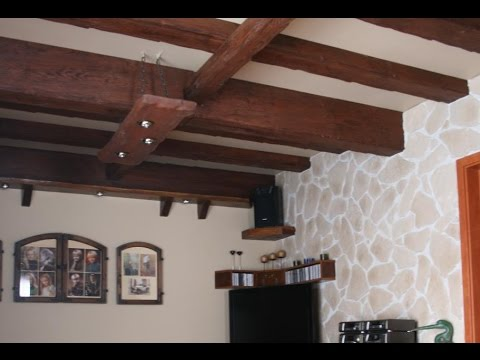 Faux wood beams ceiling to size easy installing fake wood for Adding wood beams to ceiling