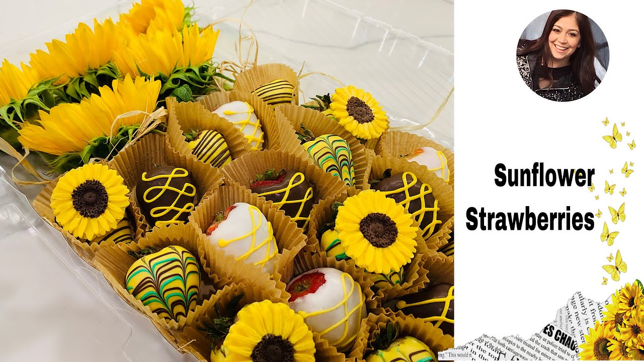 Cómo hacer fresas con chocolate con diseño de Girasoles🌻Sunflower  chocolate covered strawberries - YouTube