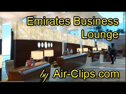 Emirates Airlines Business Class Lounge Dubai - world's LARGEST! by [AirClips]