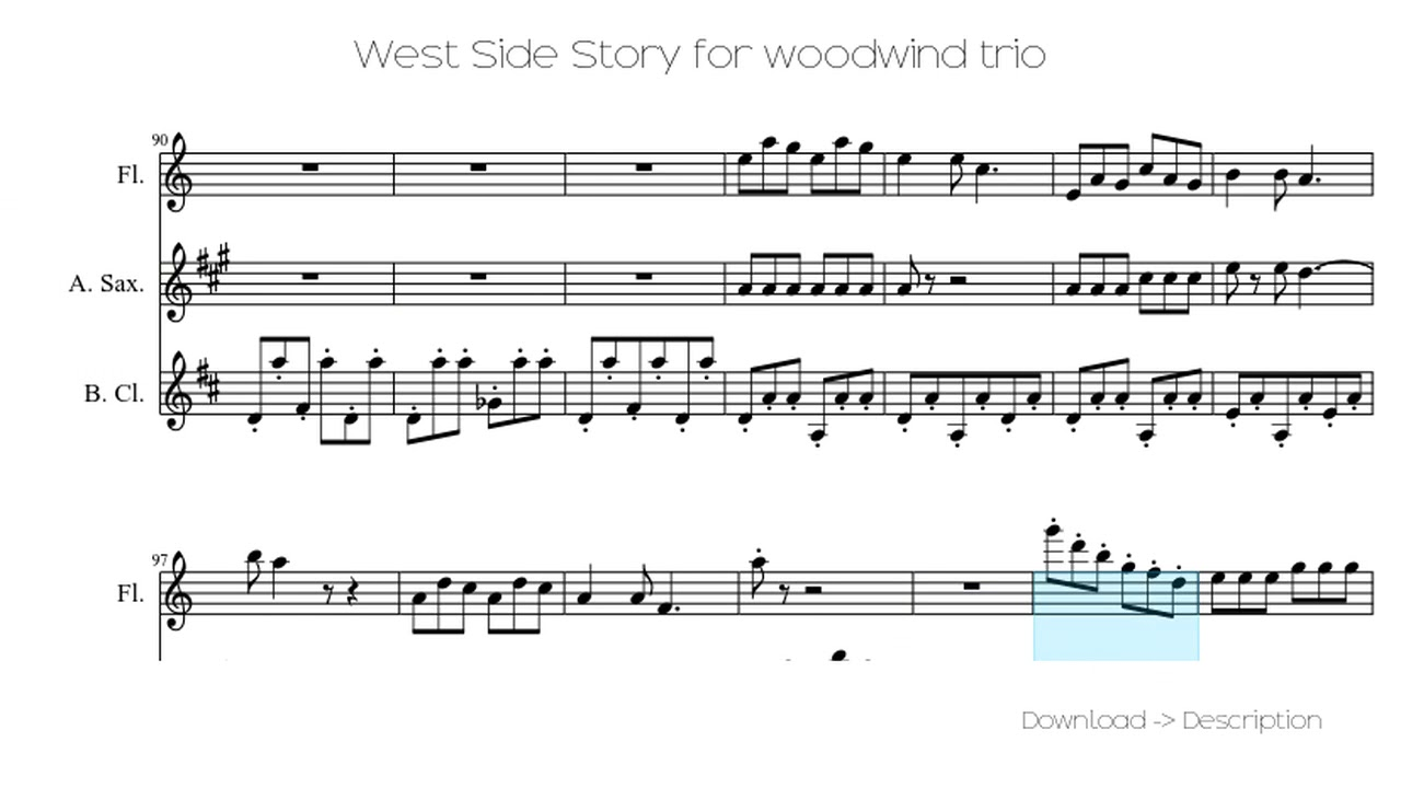 🎶 West Side Story For Woodwind Trio 🎸🎸