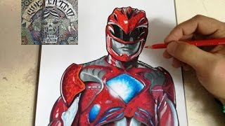 HOW TO DRAW POWER RANGER RED -  MOVIE 2017 / como dibujar al power ranger rojo 2017