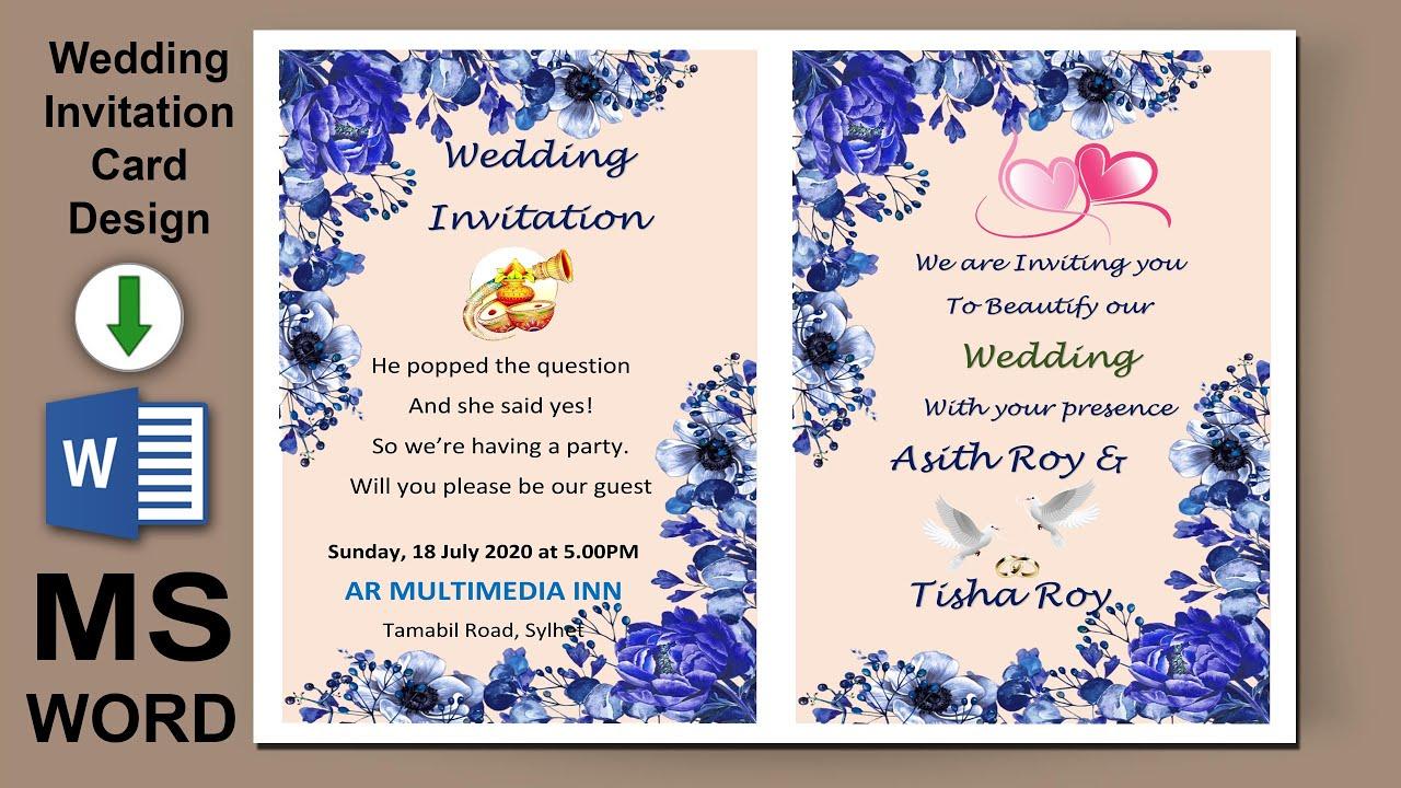 ms word tutorial wedding card design in ms word 2019 marriage invitation card word ar multimedia
