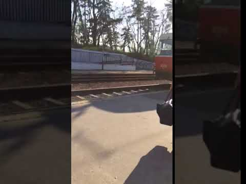Prague tram pulling away
