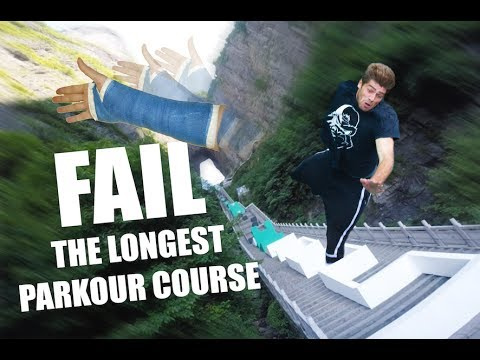 I FELL OFF the WORLDS LARGEST PARKOUR COURSE - YouTube