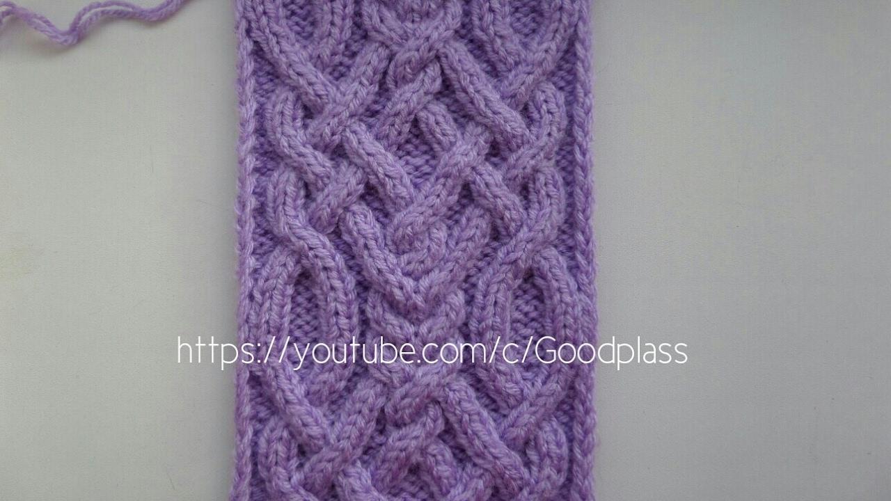 схема вязания шарф-плетенка спицами