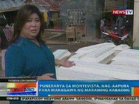 NTG: Punerarya sa Montevista, ComVal, nag-aapura para makagawa ng maraming kabaong