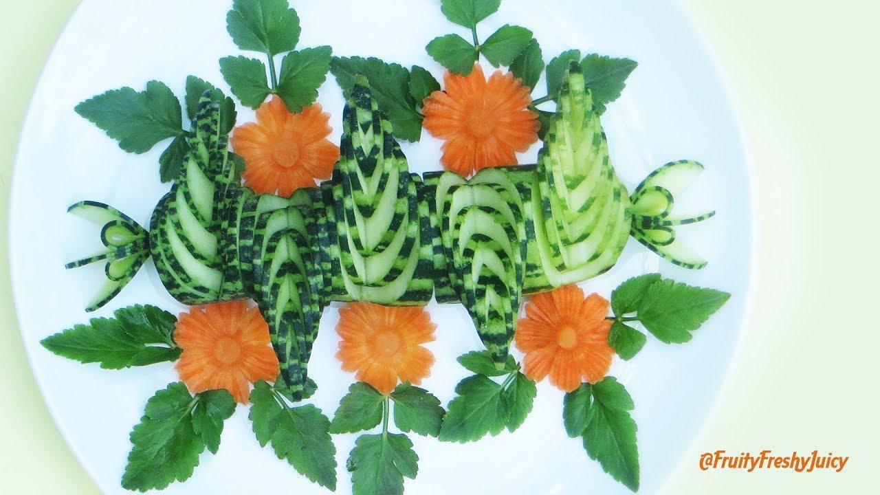 Artistic Cucumber & Carrot Flower Carving Garnish – Vegetable | Food Decorations & Designs