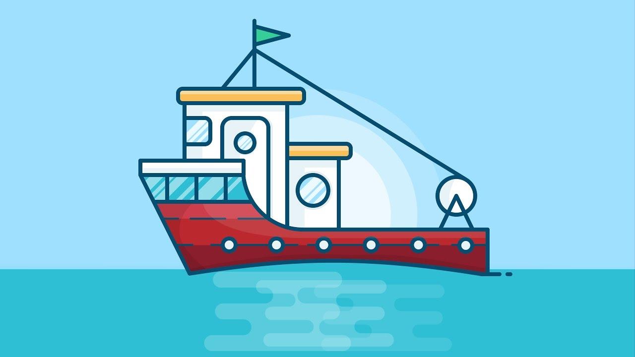 Illustrator tutorial fishing boat illustration design for How to ship fish