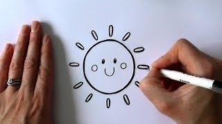 how to draw a cartoon sun step by step l Как нарисовать солнце с улыбкой поэтапно  #120