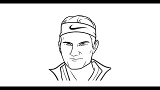 How to Draw Roger Federer face pencil drawing step by step