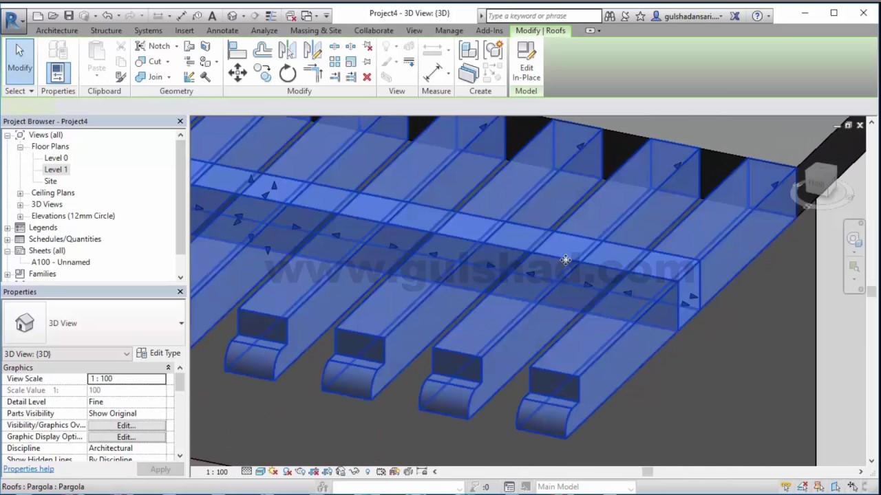 How To Make Pergola Design In Autodesk Revit Youtube