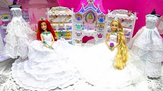 Rapunzel Barbie Dolls Wedding Dress Shop Shopping Mermaid Ariel Marry Day Beautiful Disney Princess