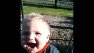 8 Month Old Baby Enjoys First Outdoor Swing Ride