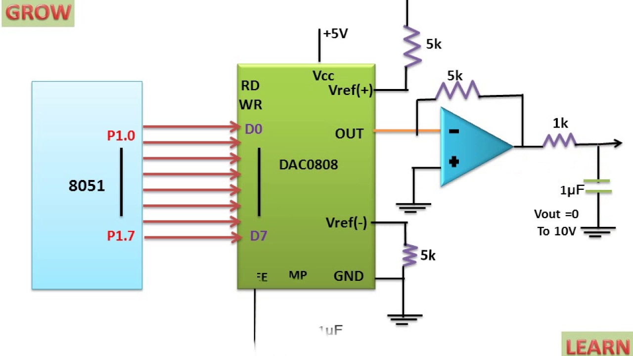 mc1408 dac or dac0808 dac converter interfacing  [ 1280 x 720 Pixel ]