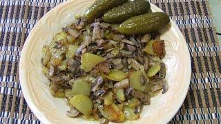 Как  жарить картошку Жарим картошку с грибами картошка жаренная с шампиньонами