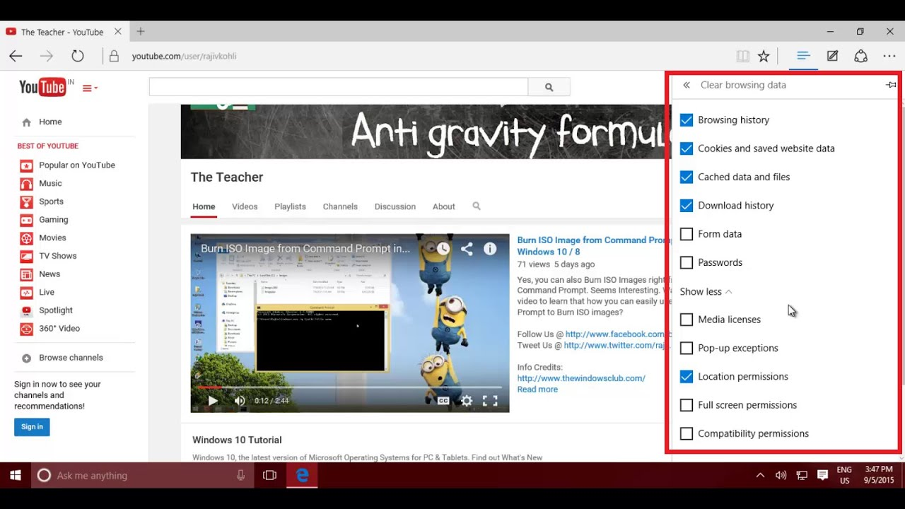 How to Clear Browsing History in Microsoft Edge Browser | Windows 10  Tutorial