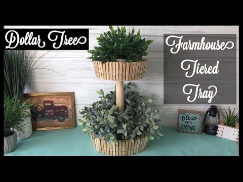 Dollar Tree DIY 2 tier Tray | farmhouse decor Tray