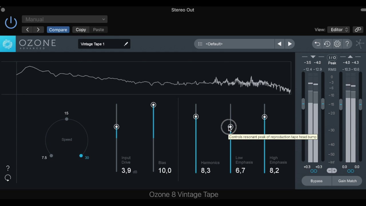 Character of Mix e Mastering with Vintage Tape Ozone 8 - Izotope