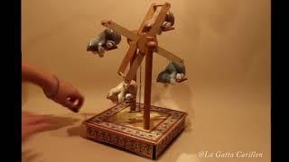 Carillon da collezione ceramica e legno - Ruota panoramica Gatti, melodia: Minuetto, Bach