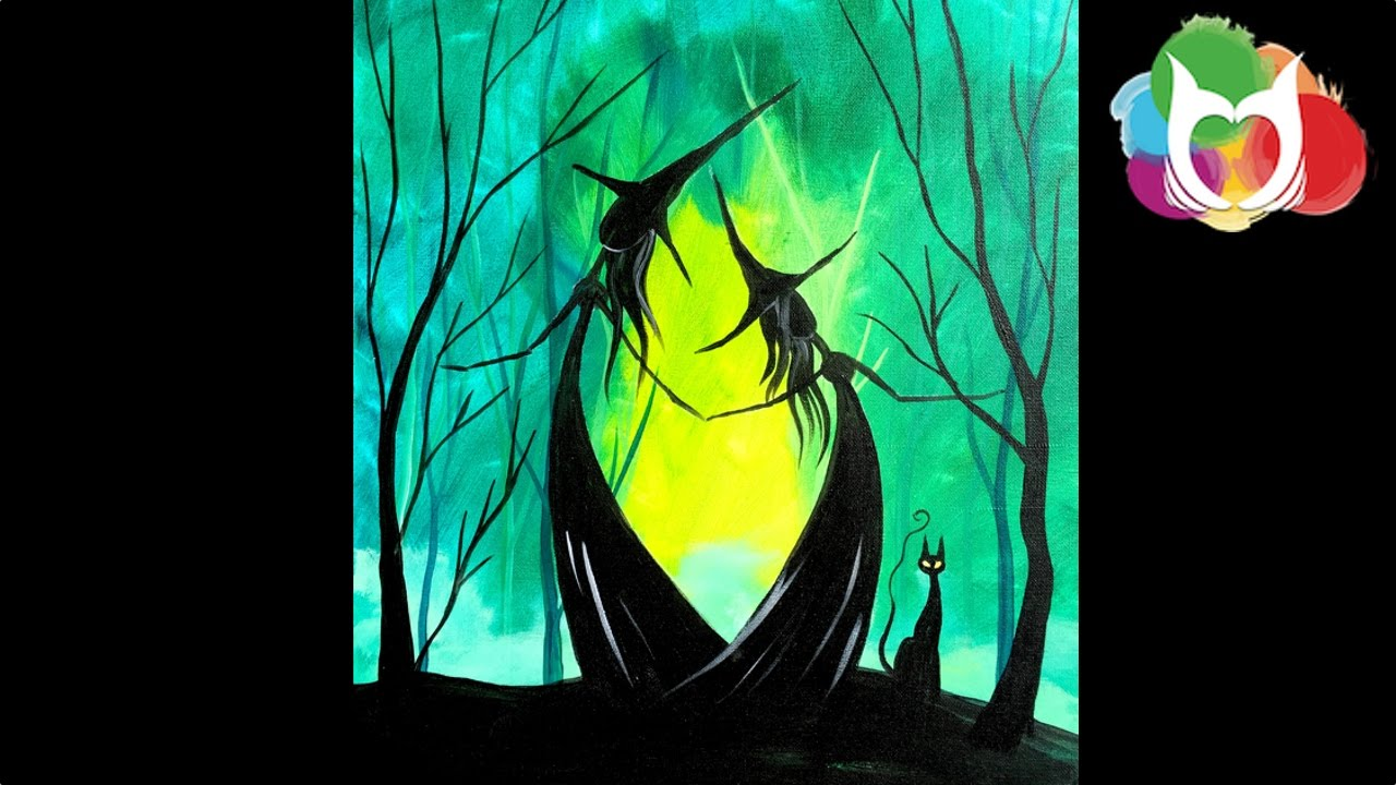 Easy Halloween painting Adorable Witch Sisters in the