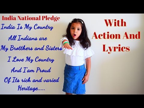 Indian National Pledge With Action And Lyrics    India Is My Country    Pledge Of India