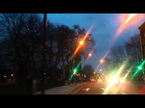 Driving in London - Roehampton to Stockwell (winter evening)