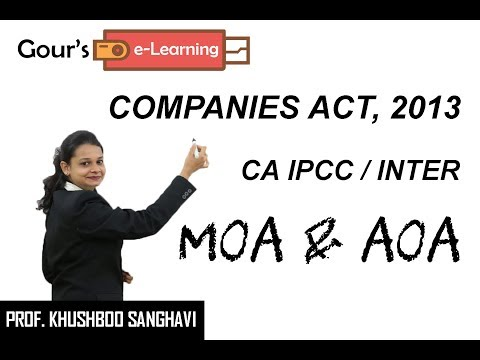 CA IPCC/Inter Law - Memorandum of Association & Articles of Association - by Prof. Khushboo Sanghavi