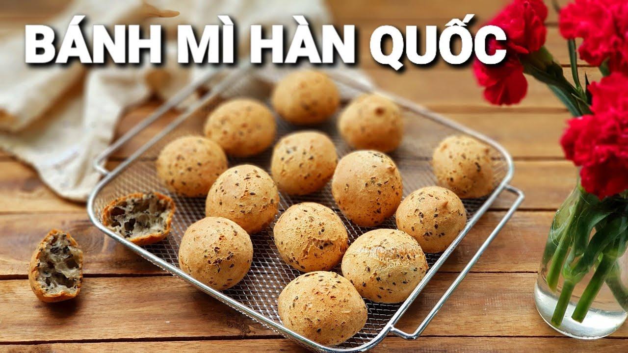 Cách làm Bánh Mì Hàn Quốc Bằng Nồi Chiên Không Dầu   Làm bánh không cần máy  đánh trứng