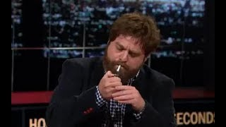 Zach Galifianakis Lights Up a Joint During a Discussion on Drug Legalization