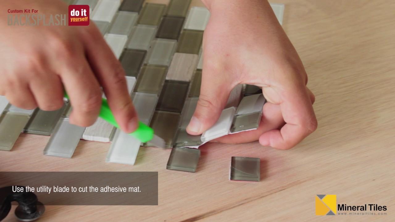 diy peel stick glass tile backsplash kit