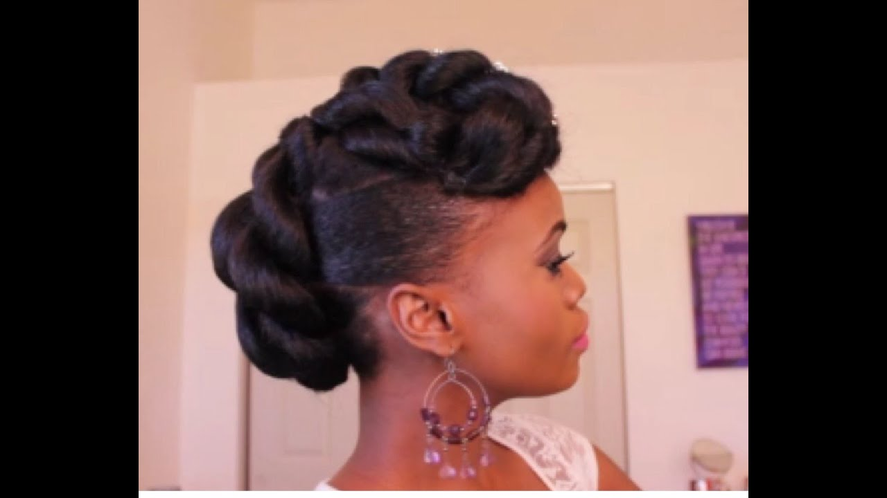 Bridal Faux Updo with Braidng Hair on Ethnic Hair - YouTube
