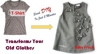 Transforms Your old T-shirt  to Cute Baby Frock In Just 5 Minutes