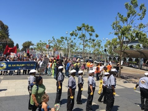 """May Day 2016 San Francisco """"No Justice No Peace"""" ILWU 10 Leads Rally And March"""