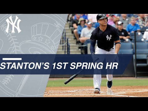 Giancarlo Stanton CRUSHES his first Spring Training home run as a Yankee